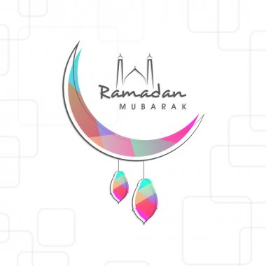 Ramadan Kareem celebration with arabic lamps and moon.