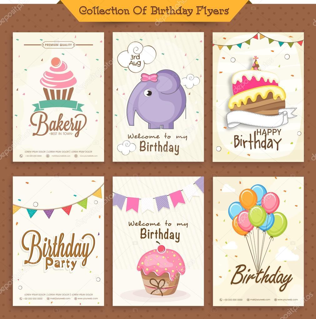 Collection of birthday flyers  — Stock Vector © alliesinteract #70995135