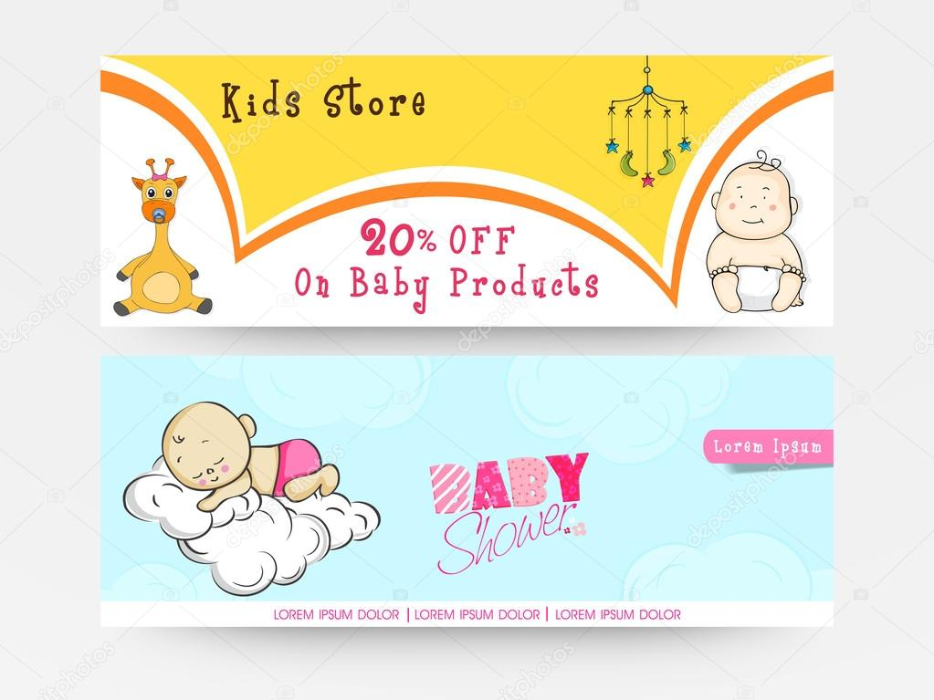 Elegant Baby Shower Banner Or Web Header. U2014 Stock Vector