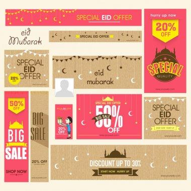 Social media ads, header or banner for Eid festival celebration.