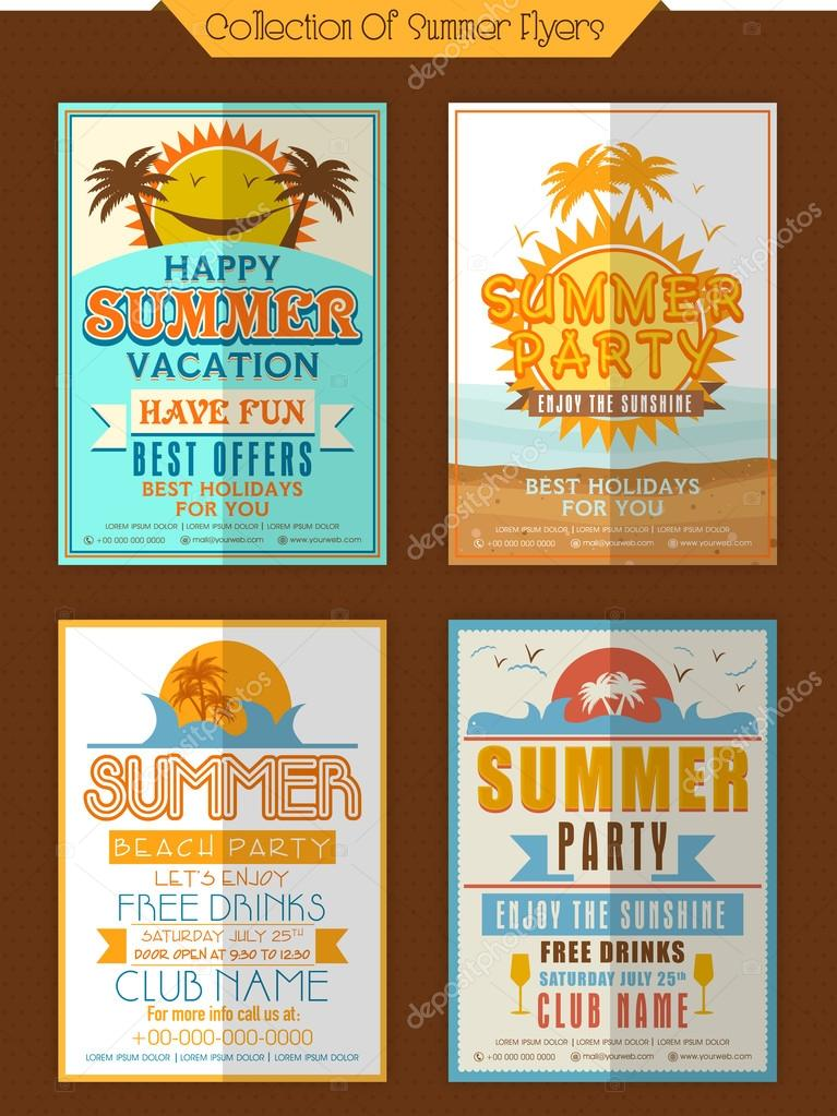 collection of summer party flyers stock vector alliesinteract