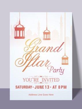 Ramadan Kareem Iftar party celebration invitation card.