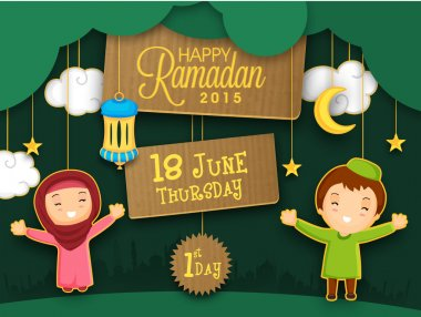 Ramadan Kareem celebration with cute puppet.