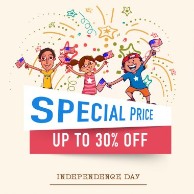 Special price Sale and discount on occasion of American Independence Day celebration with happy kids on stylish background. stock vector
