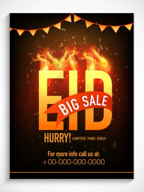 Big sale poster, banner or flyer for Eid celebration.