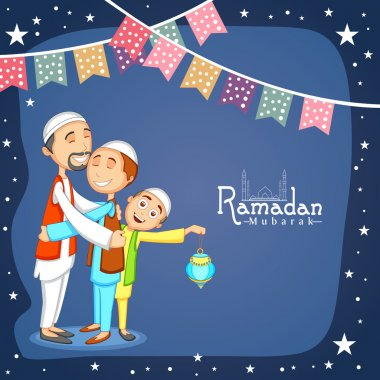 Happy Muslim people celebrating Ramadan Kareem.