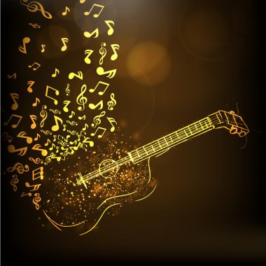 Golden illustration of a guitar with musical notes on shiny brown background. clip art vector