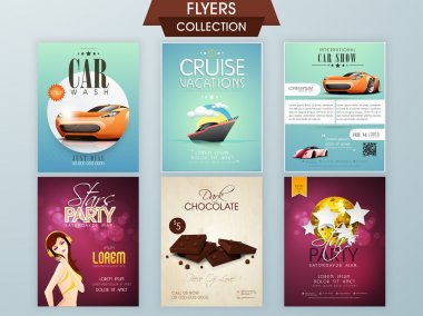Collection of different flyers.