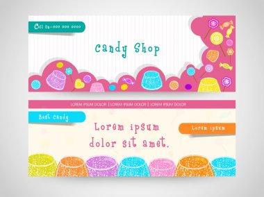 Website header or banner set for candy shop.