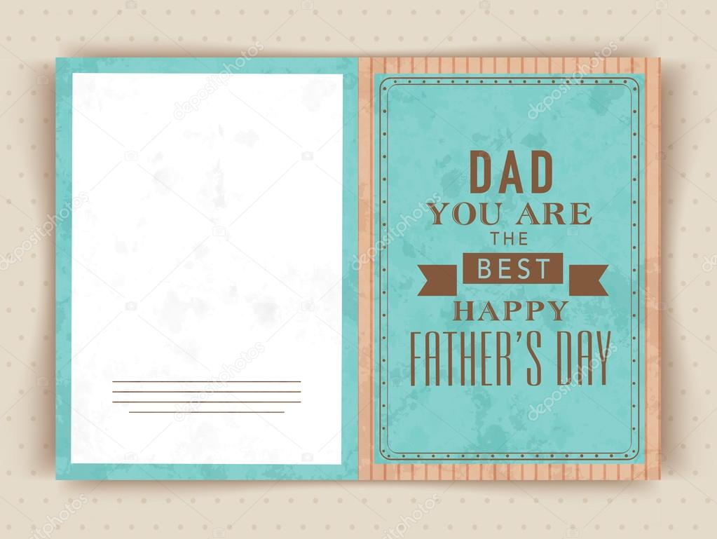 Greeting Card Design With Text For Happy Fathers Day Stock Vector