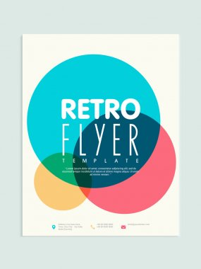 Retro flyer, template or brochure design for business.