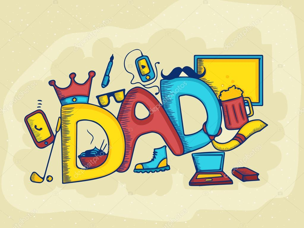 Colorful text for Happy Father's Day celebration.