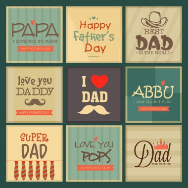 Vintage greeting cards set for Happy father's Day celebrations with different compliments. stock vector