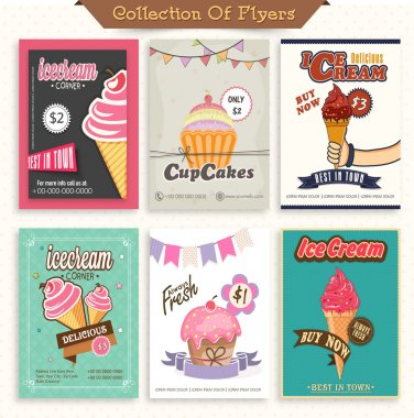 Set of six stylish flyers of ice-cream and cupcakes.