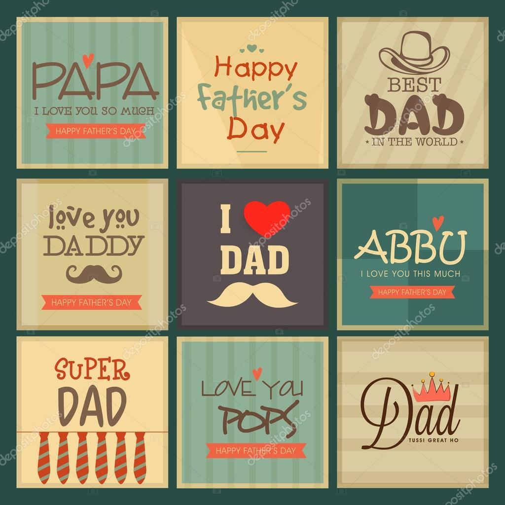Set Of Greeting Cards For Happy Fathers Day Stock Vector
