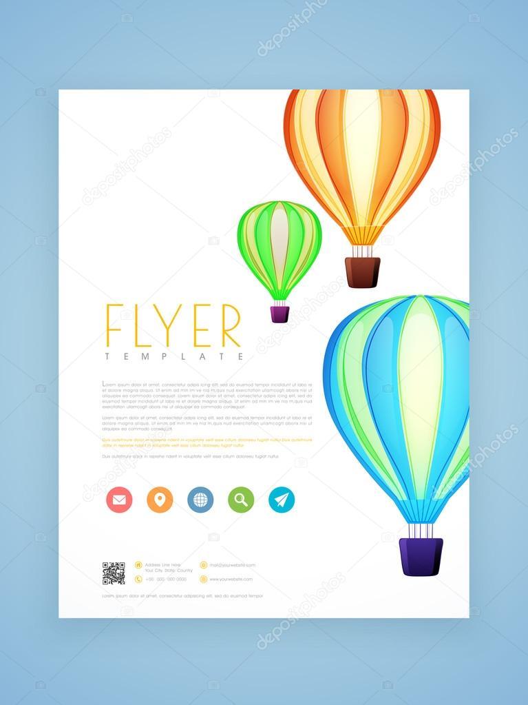 Flyer Schablone Oder Broschüre Mit Heißluftballons