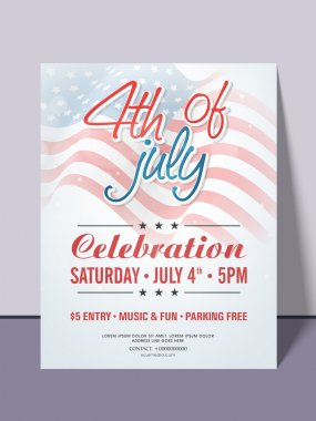 American Independence Day invitation card.