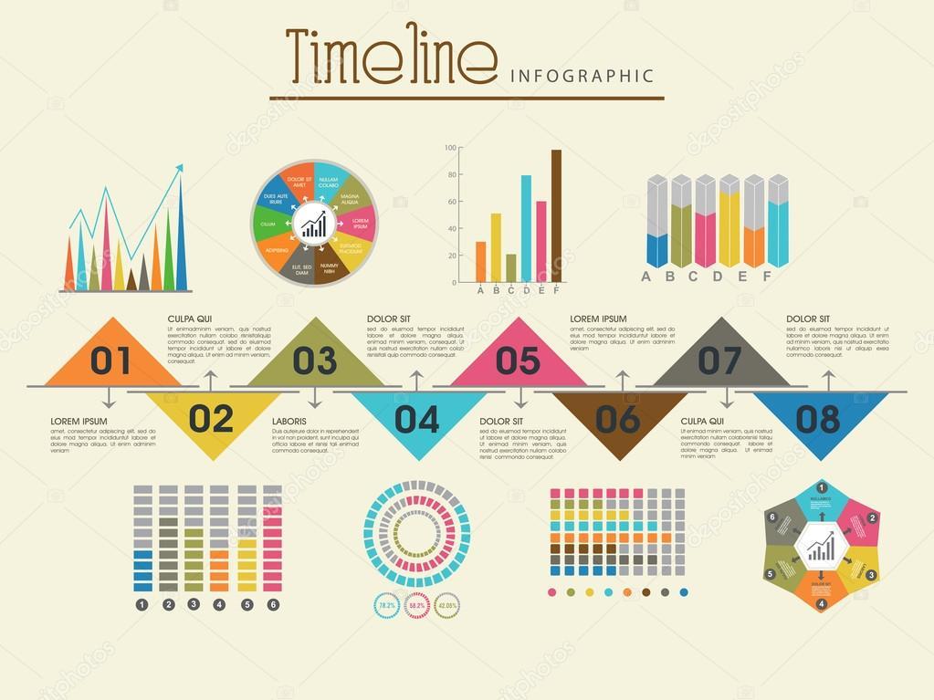 Diseño de plantilla de infografía creativa línea de tiempo — Archivo ...
