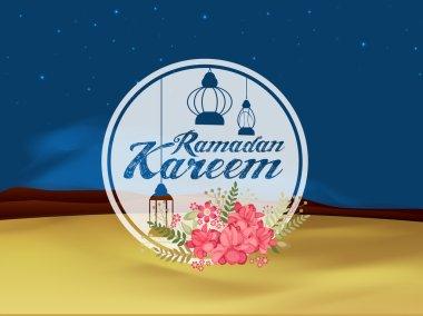 Floral sticky design for Ramadan Kareem celebration.