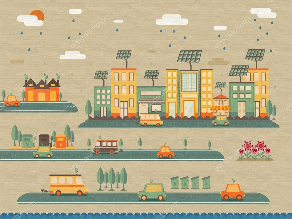 Ecology infographic with city view.