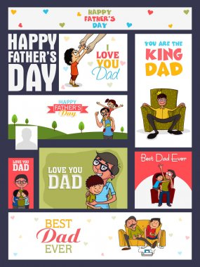 Social media ads, header or banner set with various elements for Happy Father's Day celebration. stock vector