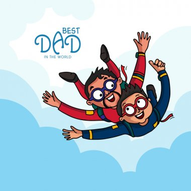 Father and son enjoying skydiving on occasion of Happy Father's Day celebration. stock vector