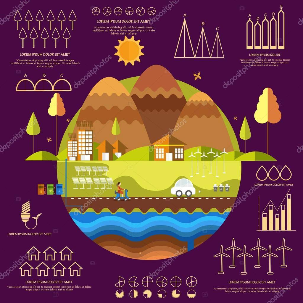 Concept of ecology infographic with statistical graphs.