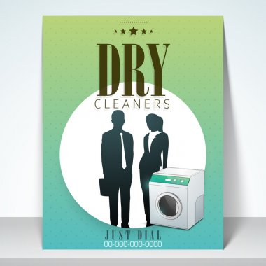 Beautiful stylish brochure, flyer or template design for dry cleaners. clip art vector