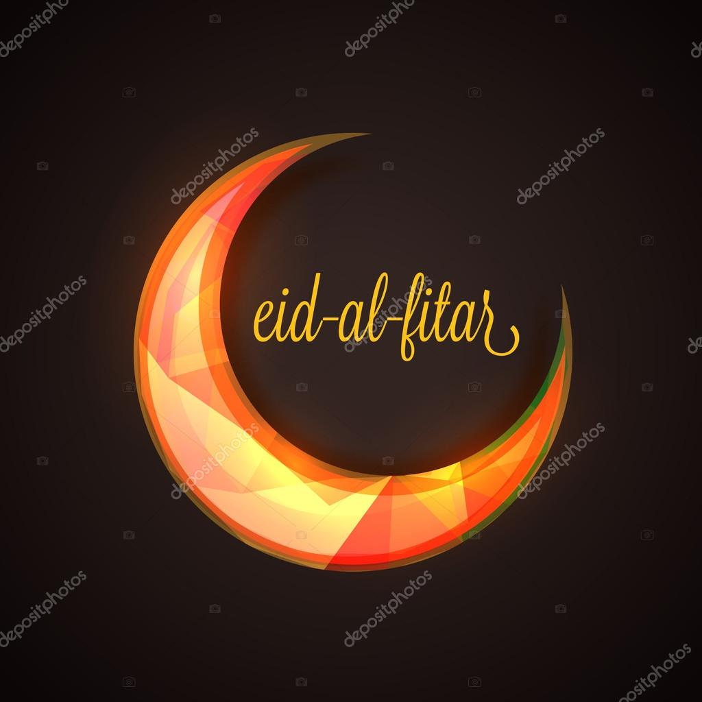 Eid Mubarak celebration with creative crescent colorful moon.