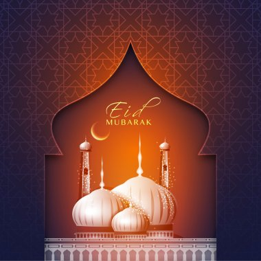 Eid Mubarak celebration greeting card design.
