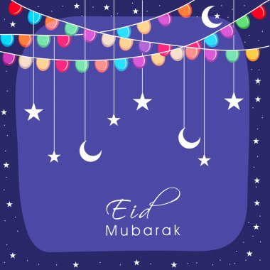 Greeting card design for Eid Mubarak celebration.