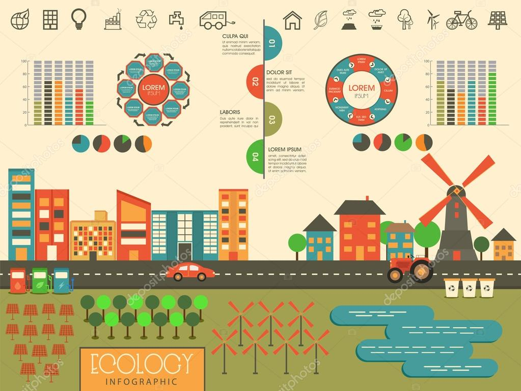 Set of ecology infographic elements with city view.