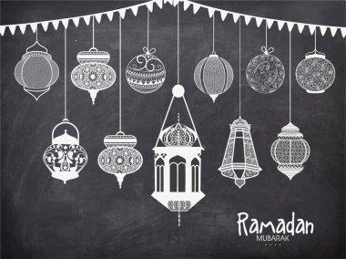 Set of Arabic lanterns for Ramadan Kareem.