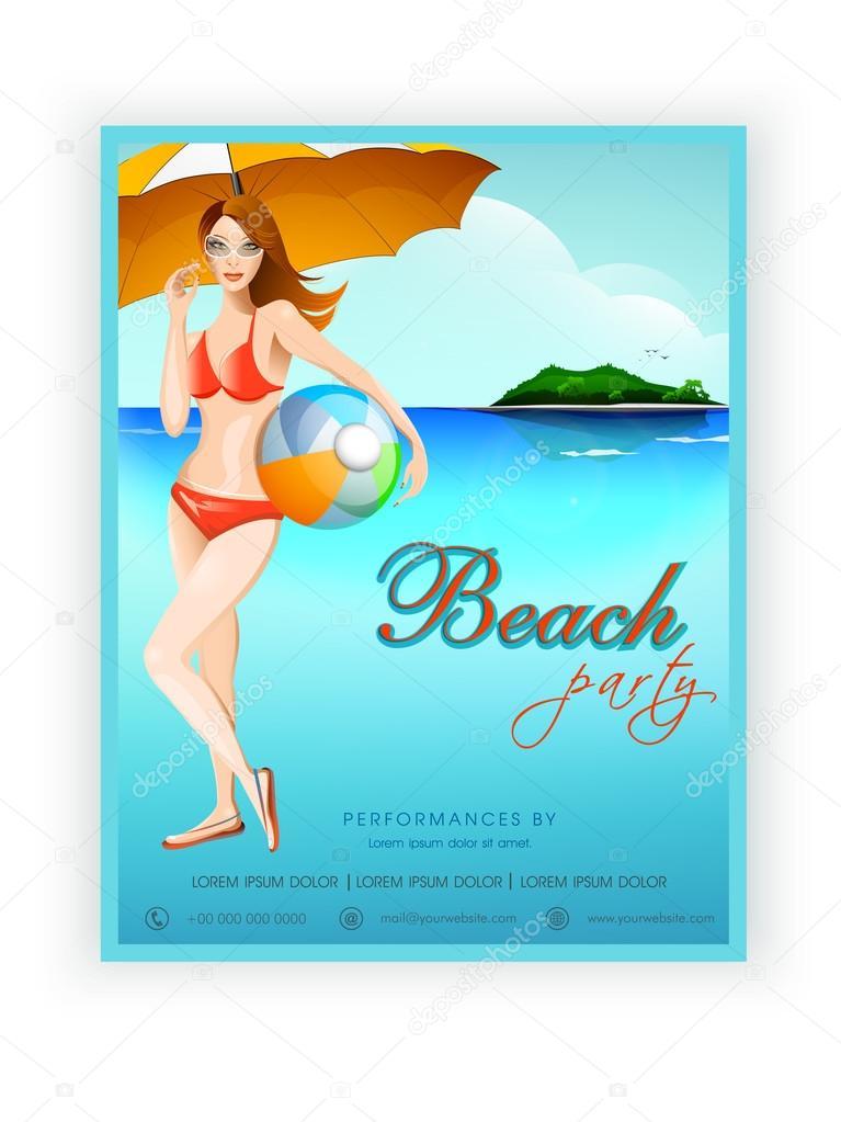 ビーチ パーティーのためのテンプレート バナーやチラシのデザイン