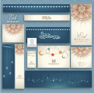 Shiny social media post and header set for Eid.