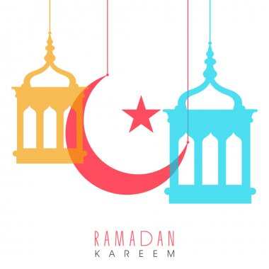Ramadan Kareem celebration with colorful moon and stars.