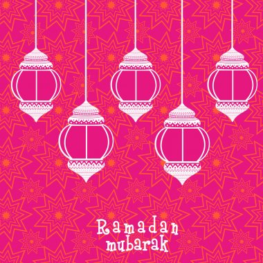 Beautiful greeting card for muslim community festival, Ramadan Kareem celebration with arabic lamps or lanterns on seamless background..