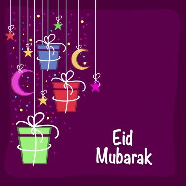 Greeting card with colorful gifts for Eid Mubarak celebration.