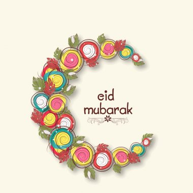 Creative colorful moon for Eid Mubarak celebration.