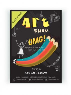 Template, brochure or flyer design for arts show.