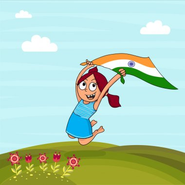 Cute girl with flag celebrating Indian Independence Day.