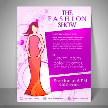 Stylish brochure, flyer and template for fashion show.