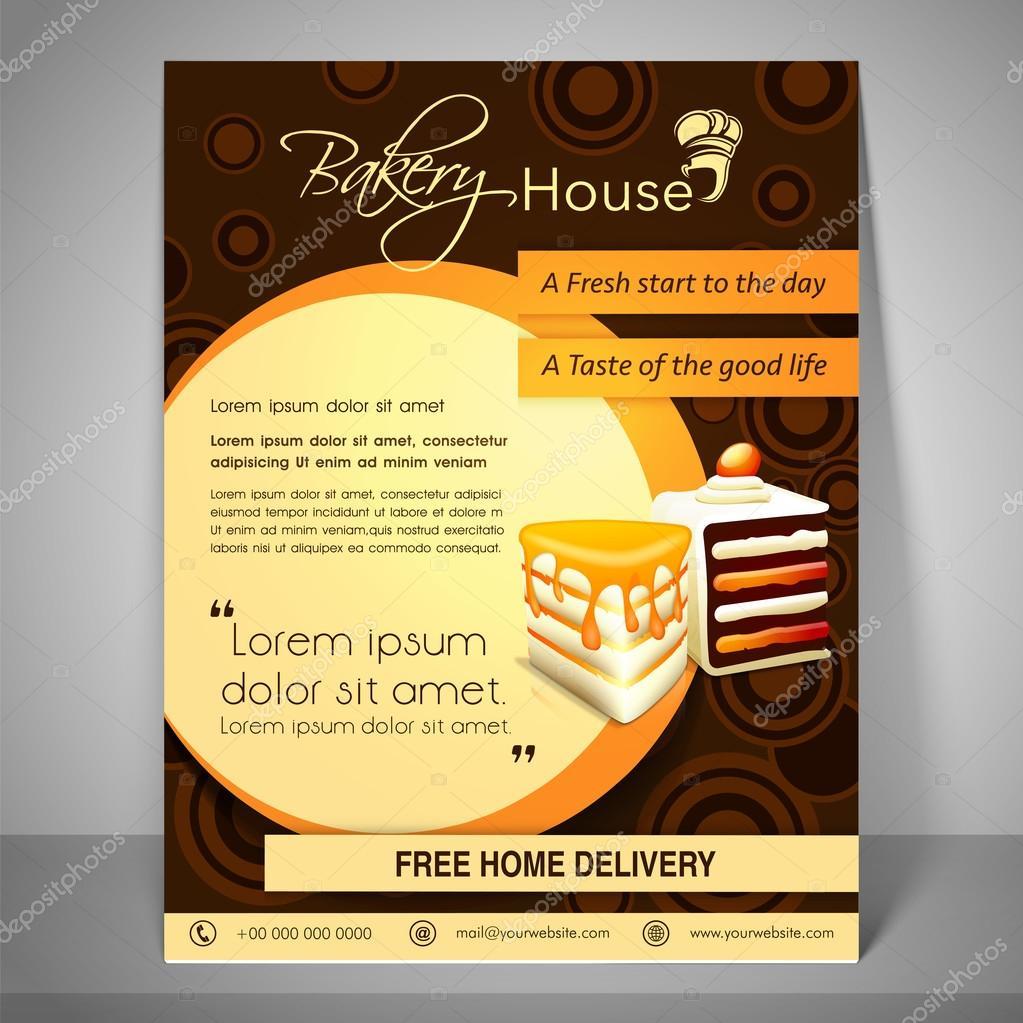 Stilvolle Menü-Karte Design für Bäckerei Haus — Stockvektor ...