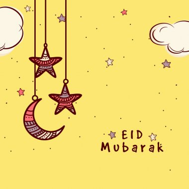 Greeting card with moon and star for Eid celebration.