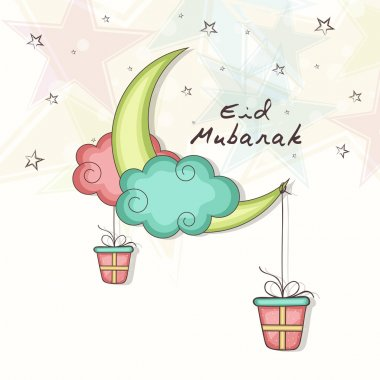 Eid Mubarak celebration with colorful moon and gifts.