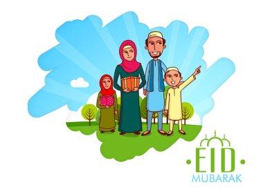 Happy Muslim family for Eid festival celebration.