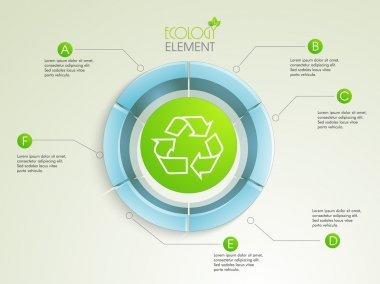Creative 3D infographic element with recycle symbol.