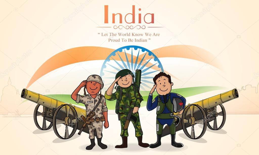 Saluting soldiers for Indian Independence Day.