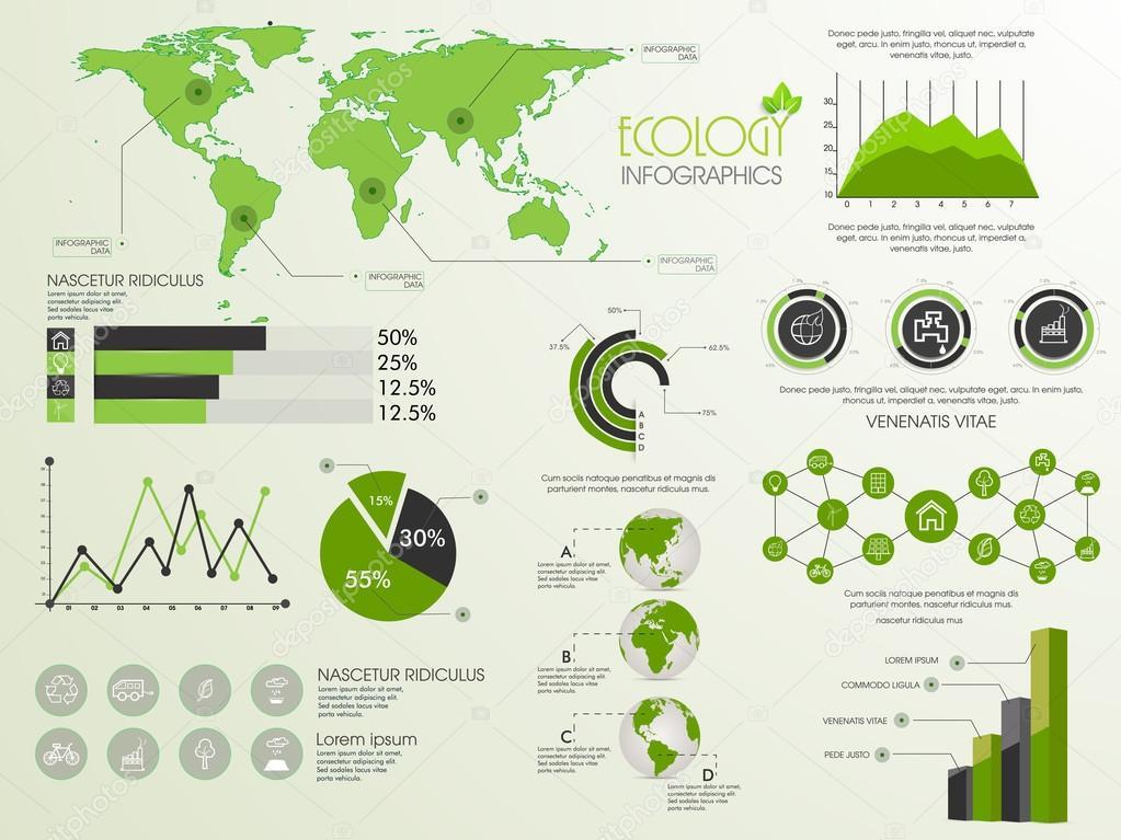 Set of ecology infographic elements.