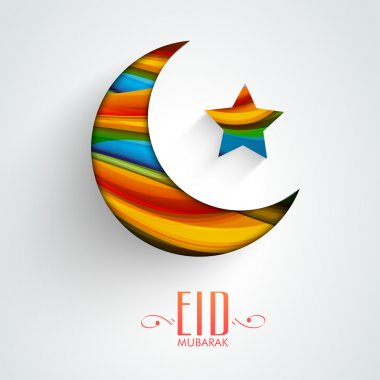 Creative colorful moon and star for Eid Mubarak celebration.